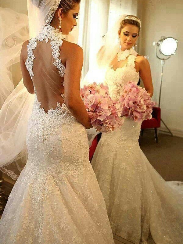 Trumpet/Mermaid High Neck Sleeveless Lace Court Train Wedding Dresses