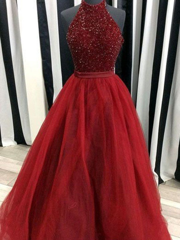 Ball Gown High Neck Sleeveless Floor-Length Beading Organza Dresses