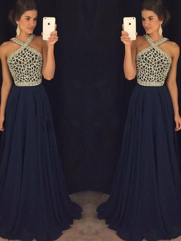A-Line/Princess Sleeveless Halter Chiffon Beading Floor-Length Dresses