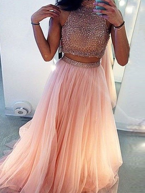 A-Line/Princess Sleeveless High Neck Tulle Beading Sweep/Brush Train Two Piece Dresses