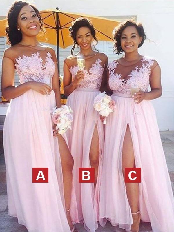 A-Line/Princess Scoop Sleeveless Floor-Length Applique Chiffon Bridesmaid Dresses