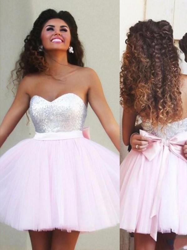 A-Line/Princess Sleeveless Sweetheart Beading Tulle Short/Mini Dresses
