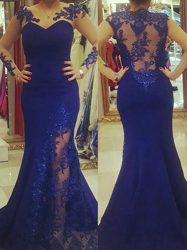 Trumpet/Mermaid Silk like Satin Scoop Applique Long Sleeves Sweep/Brush Train Plus Size Dresses