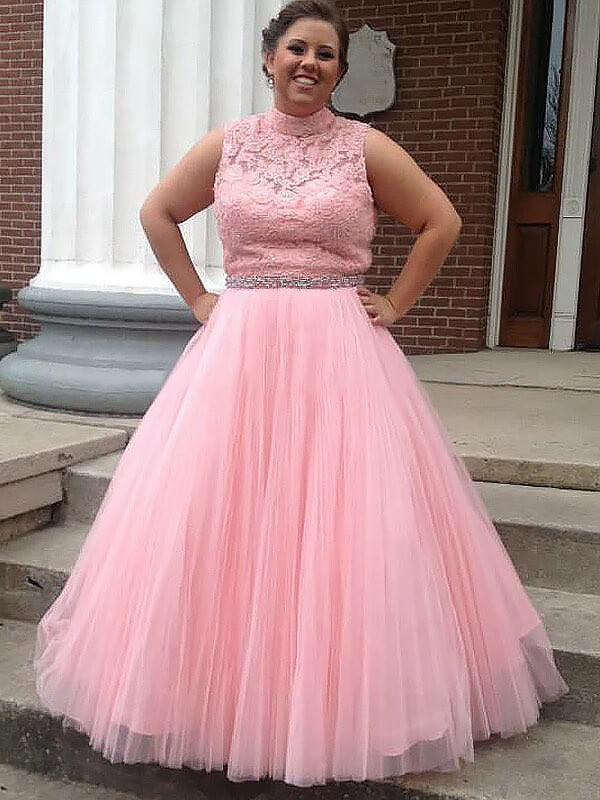 Ball Gown High Neck Tulle Applique Sleeveless Floor Length Plus Size