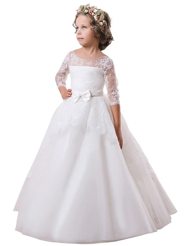 Ball Gown Jewel Long Sleeves Lace Sweep/Brush Train Satin Flower Girl Dresses