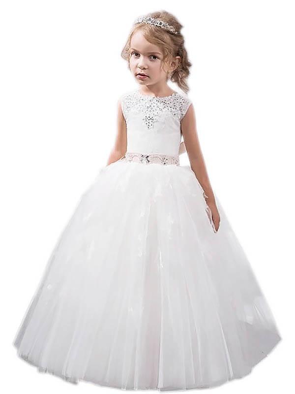 Ball Gown Jewel Sleeveless Crystal Floor-Length Tulle Flower Girl Dresses