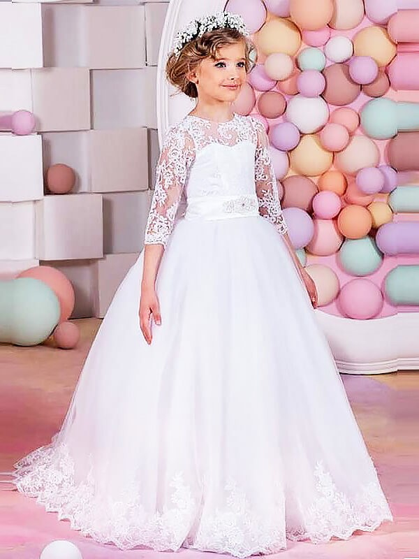 Ball Gown Jewel 1/2 Sleeves Lace Sweep/Brush Train Tulle Flower Girl Dresses