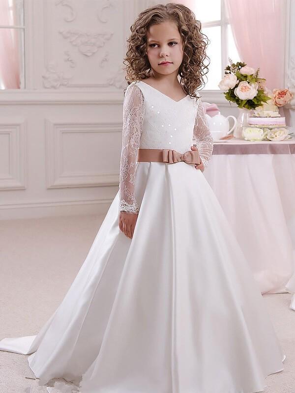 Ball Gown V Neck Long Sleeves Lace Floor Length Satin Flower Girl