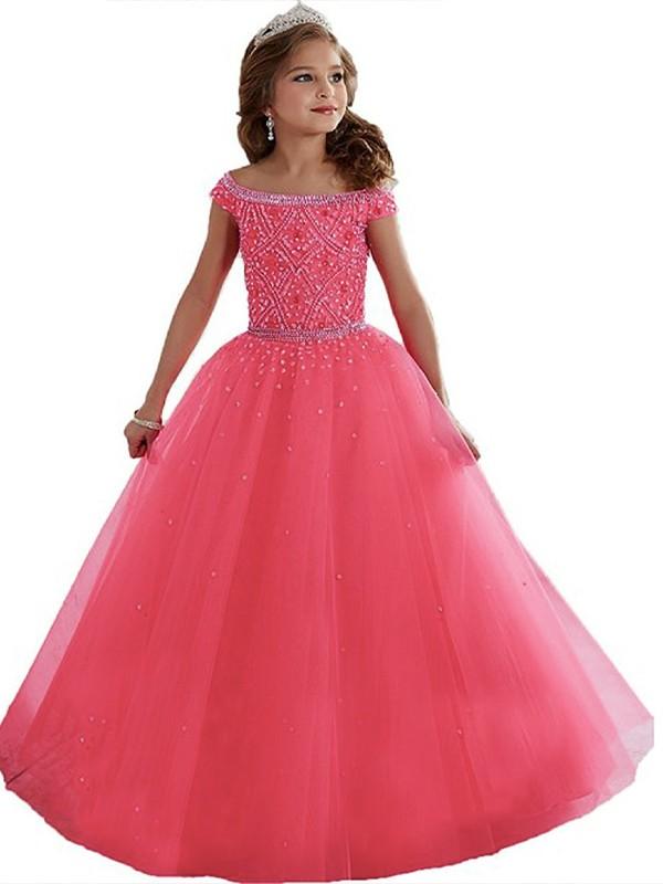 Ball Gown Off-the-Shoulder Sleeveless Beading Floor-Length Tulle Flower Girl Dresses