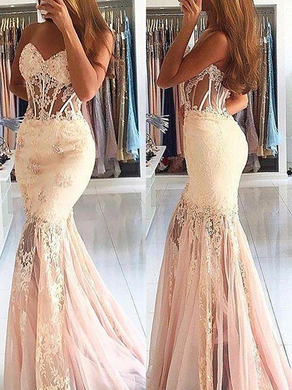 Trumpet/Mermaid Sleeveless Sweetheart Tulle Lace Sweep/Brush Train Dresses