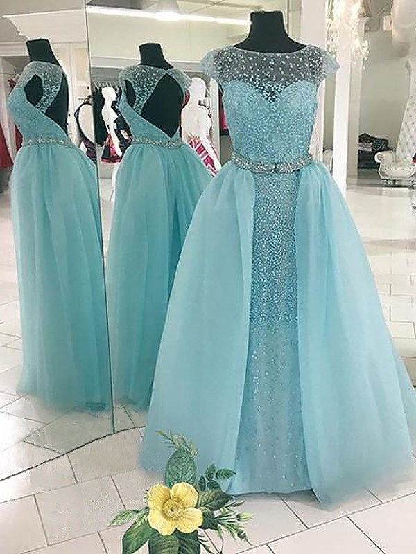 Ball Gown Sleeveless Bateau Beading Floor-Length Tulle Dresses