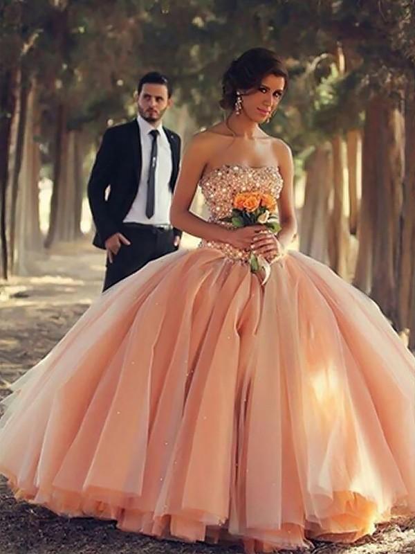 Ball Gown Sleeveless Strapless Beading Floor-Length Tulle Dresses