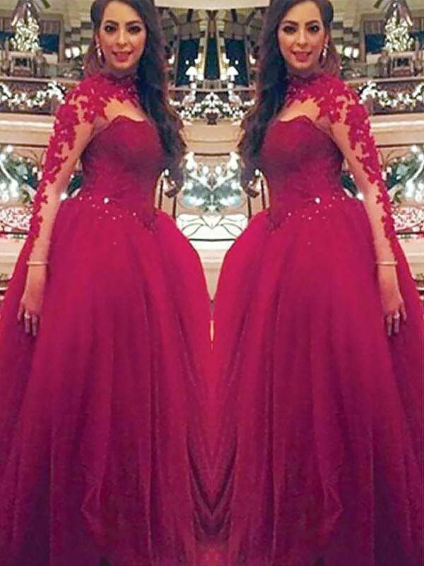 Ball Gown Long Sleeves High Neck Applique Floor-Length Tulle Dresses