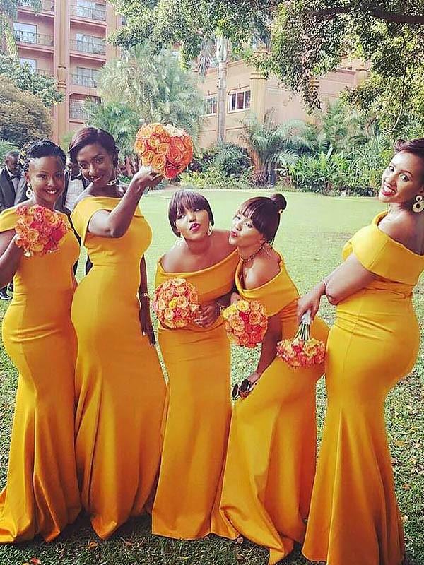 Trumpet/Mermaid Sweep/Brush Train Sleeveless Off-the-Shoulder Jersey Bridesmaid Dresses