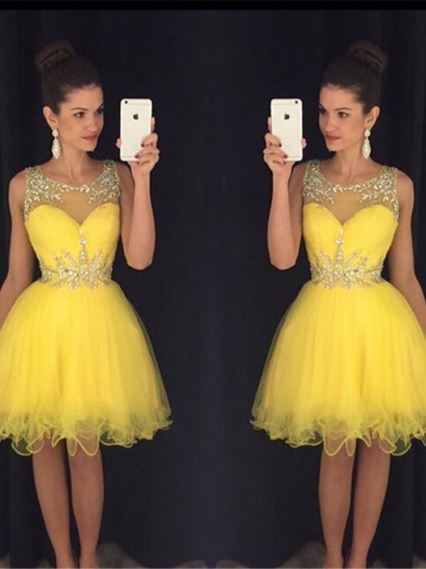 A-Line/Princess Scoop Sleeveless Beading Tulle Short/Mini Dresses
