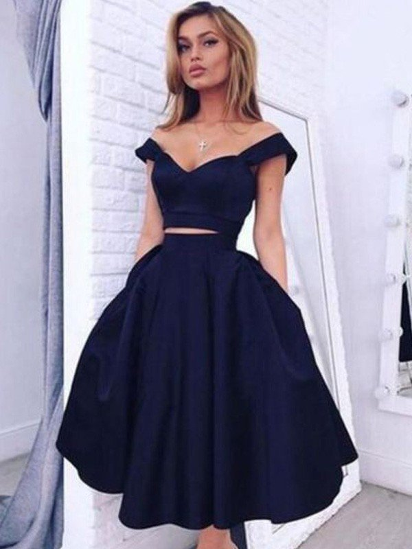 A-Line Princess Off-the-Shoulder Sleeveless Tea-Length Satin Two ... 0f4451d34