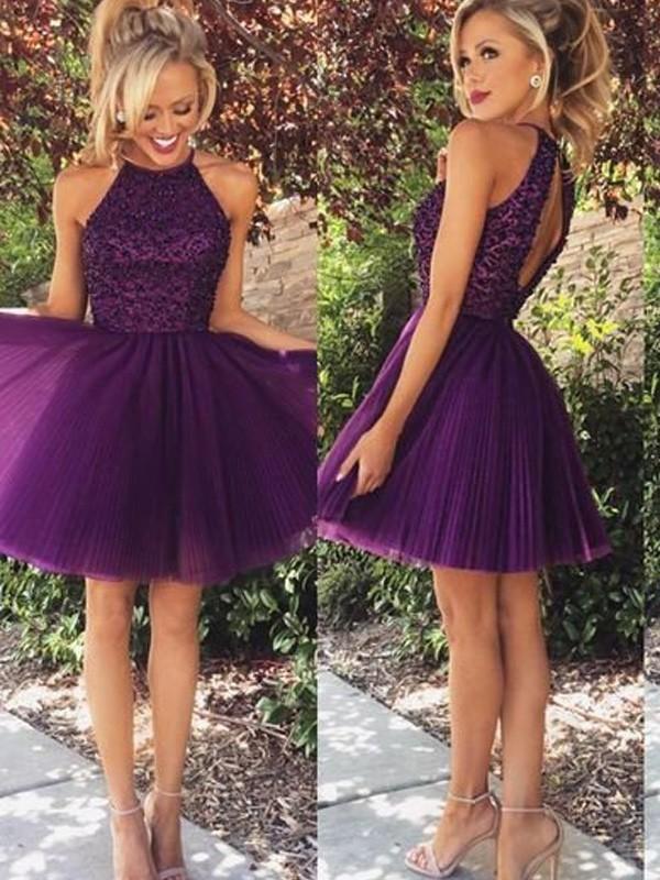 A-Line/Princess Halter Sleeveless Beading Short/Mini Tulle Dresses