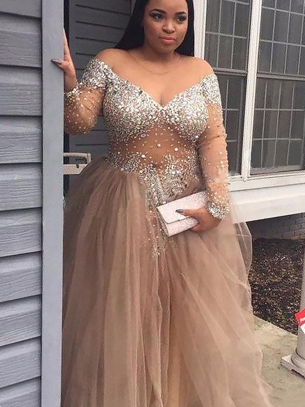 500f9069658 Ball Gown Off-the-Shoulder Long Sleeves Sequin Tulle Floor-Length Dresses