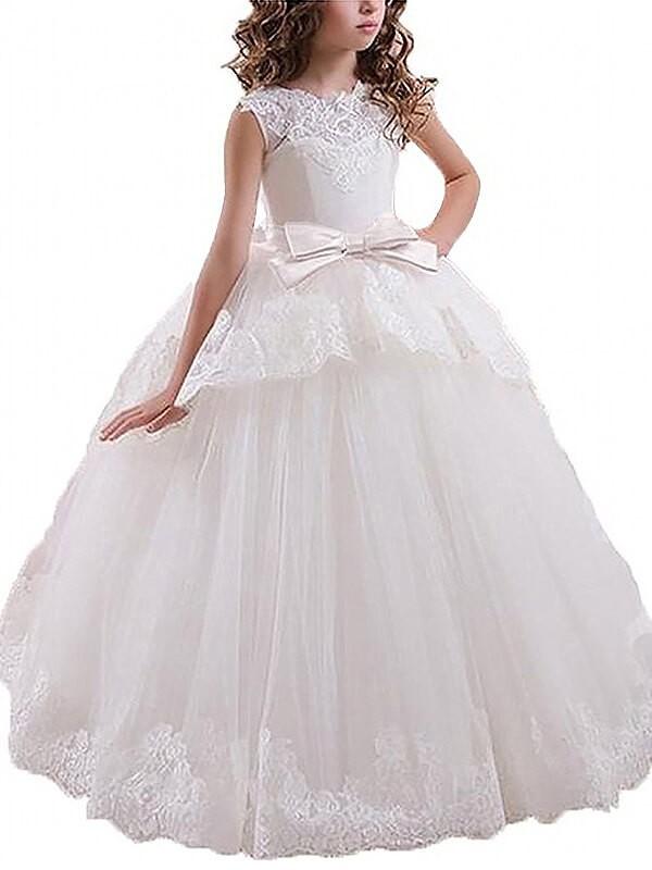 Ball Gown Sleeveless Scoop Sash/Ribbon/Belt Floor-Length Tulle Flower Girl Dresses