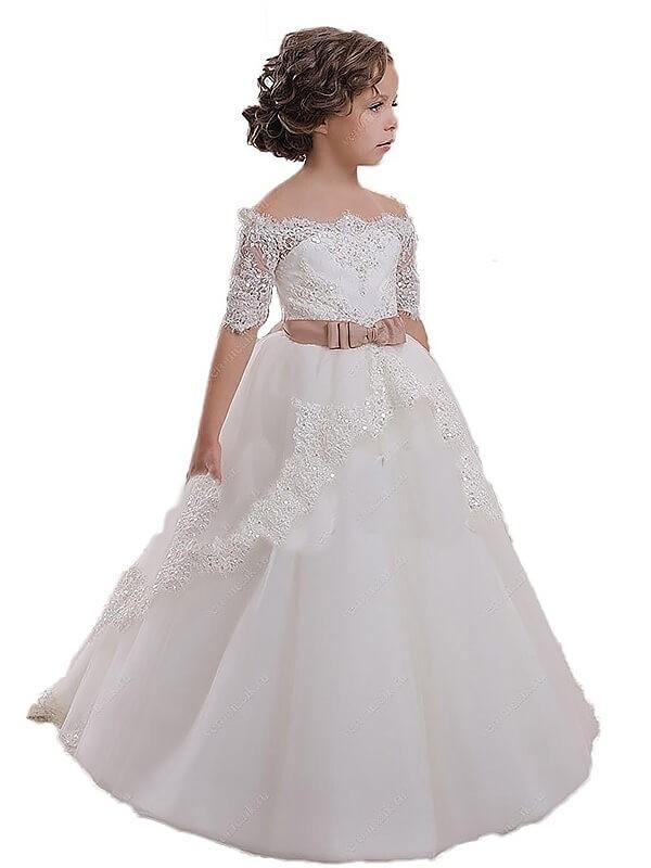 Ball Gown Off-the-Shoulder Short Sleeves Sash/Ribbon/Belt Tulle Flower Girl Dresses