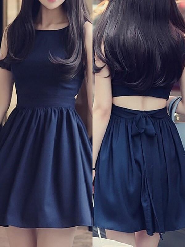 A-Line/Princess Scoop Sleeveless Short/Mini Chiffon Dresses