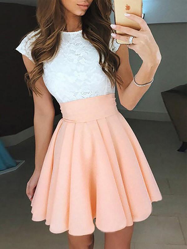 A-Line/Princess Jewel Sleeveless Lace Short/Mini Chiffon Dresses