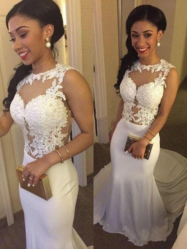 Trumpet/Mermaid Spandex Scoop Applique Sleeveless Court Train Wedding Dresses