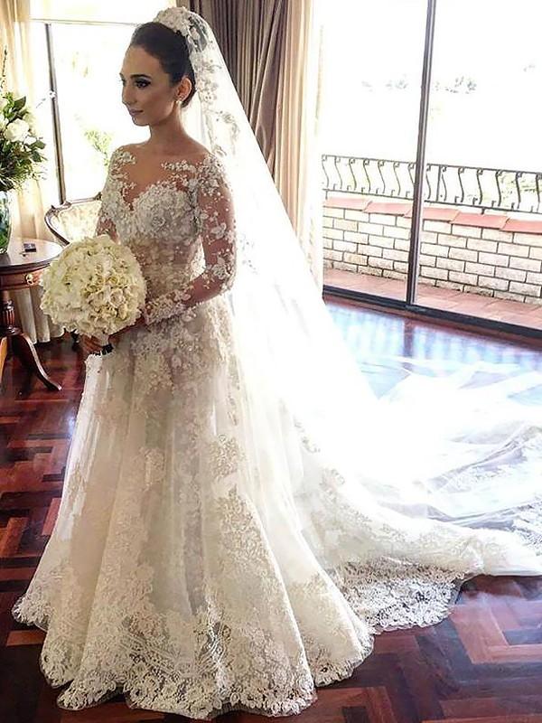 A-Line/Princess Bateau Long Sleeves Lace Chapel Train Tulle Wedding Dresses