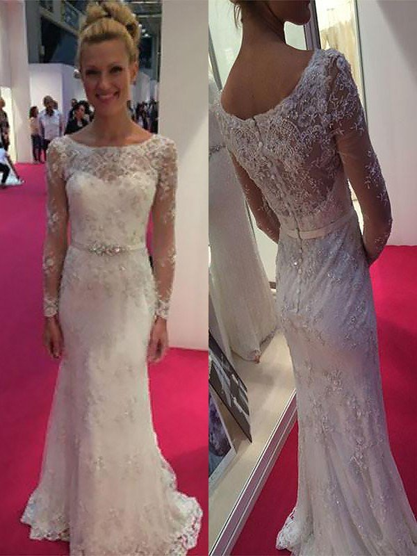 488482a5a6 Sheath Column Scoop Long Sleeves Lace Chiffon Sweep Brush Train Wedding  Dresses