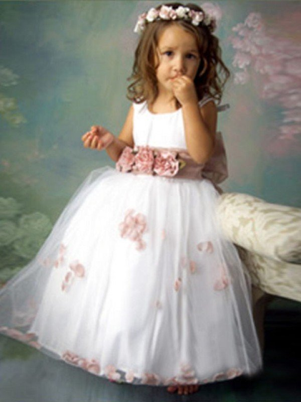 A-line/Princess Sleeveless Scoop Hand-made Flower Long Tulle Flower Girl Dresses