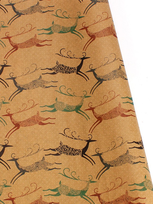 Christmas Brilliant Wapiti Wrapping Paper(10 Pieces)