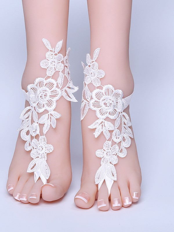 Stunning Bridal/Feminine Lace With Applique Anklets