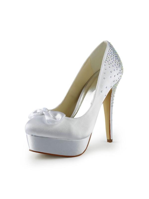 Women's Satin Stiletto Heel Closed Toe Platform White Wedding Shoes With Bowknot