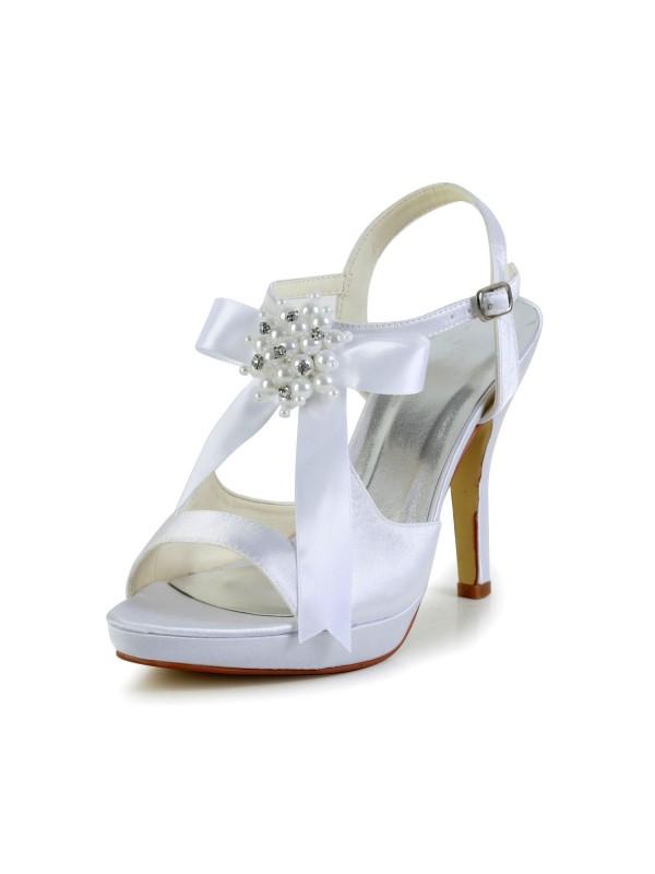 Women's Satin Stiletto Heel Peep Toe Platform Sandals White Wedding Shoes With Bowknot