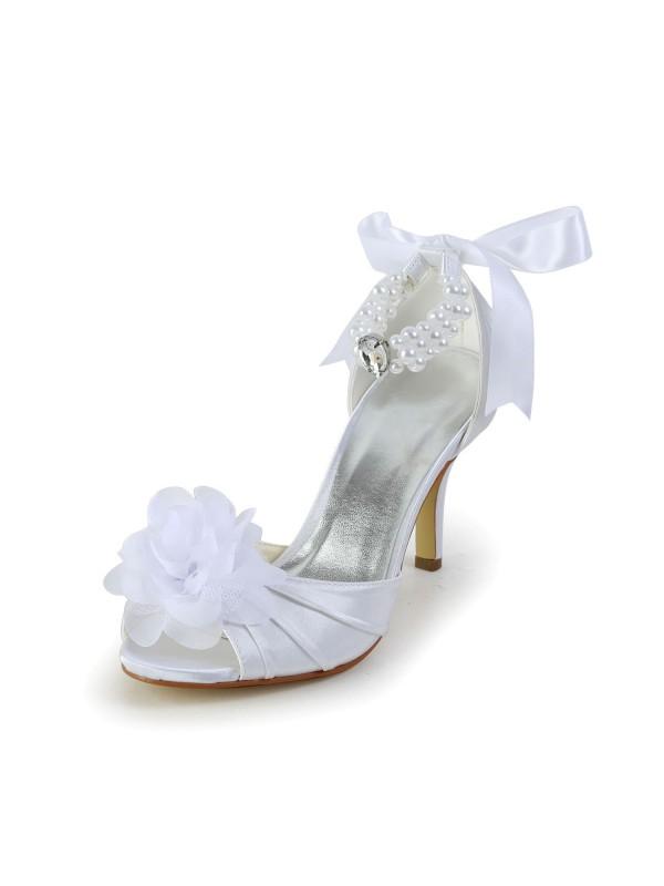 Women's Satin Stiletto Heel Peep Toe Dance Shoes With Imitation Pearl