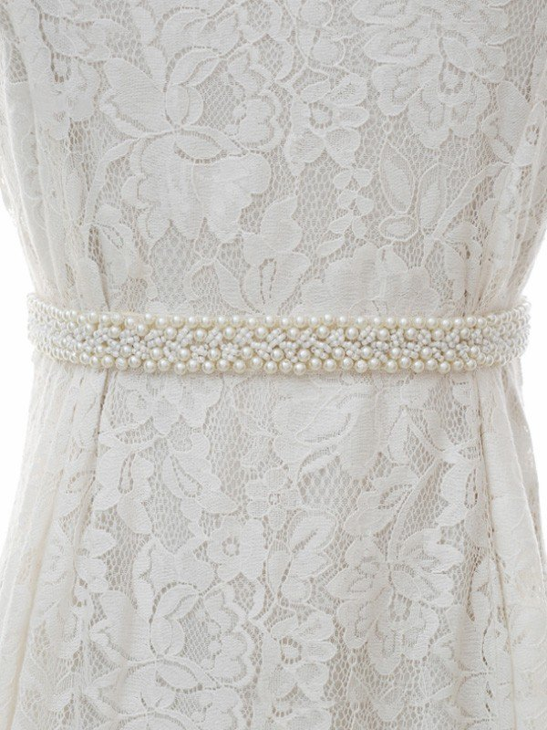 Stylish Satin/Organza Sashes With Imitation Pearls
