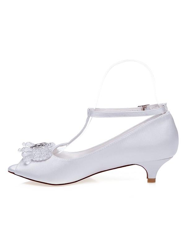 Women's Satin Peep Toe Cone Heel Pearls Wedding Shoes