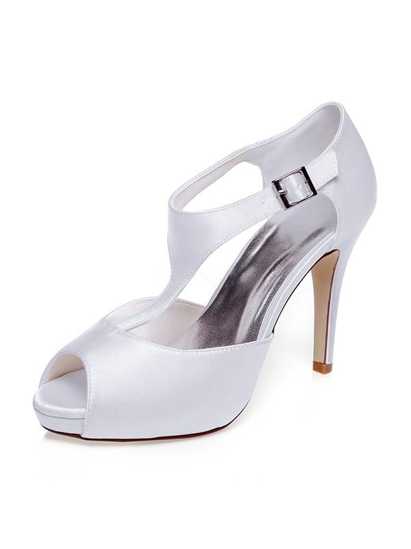 Women's Satin Peep Toe Buckle Stiletto Heel Wedding Shoes