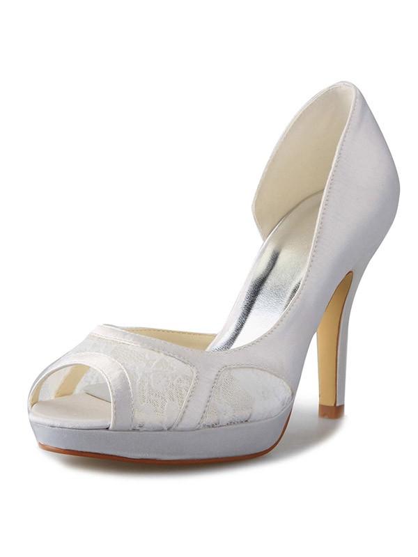 Women's Stiletto Heel Satin Platform Peep Toe With Lace White Wedding Shoes