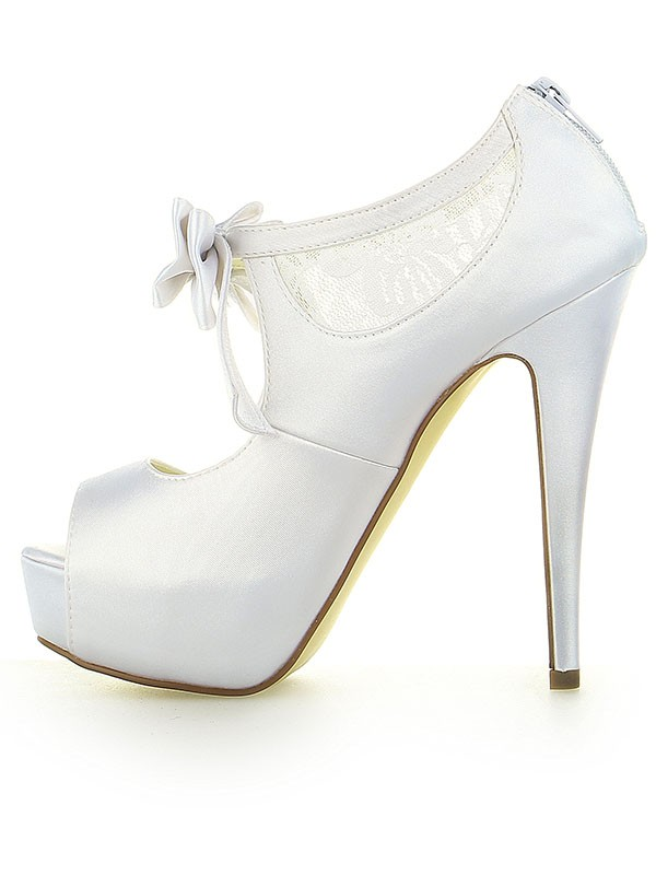 Women's Satin Lace Platform Peep Toe With Bowknot Stiletto Heel White Wedding Shoes
