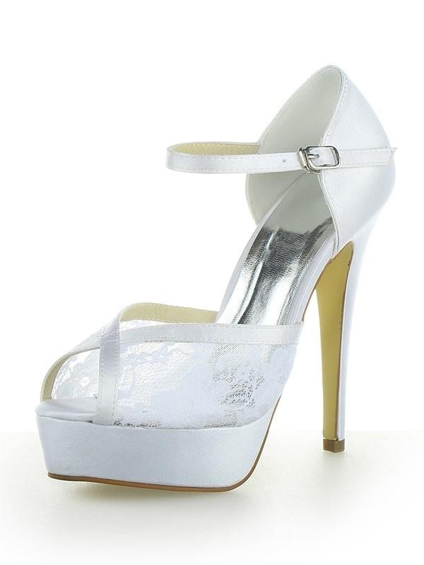 Women's Satin Lace Platform Peep Toe With Buckle Stiletto Heel White Wedding Shoes