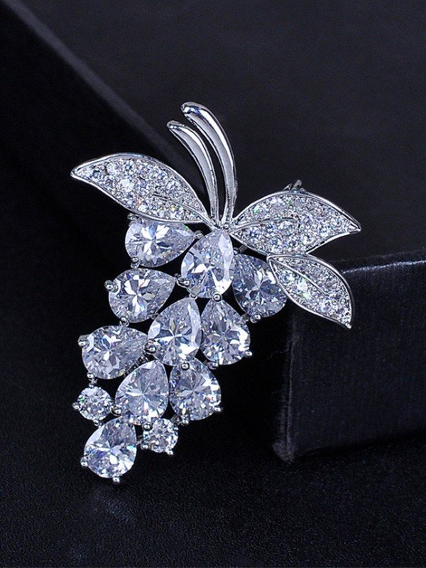 Fruit Shaped Zircon Ladies' Brooch