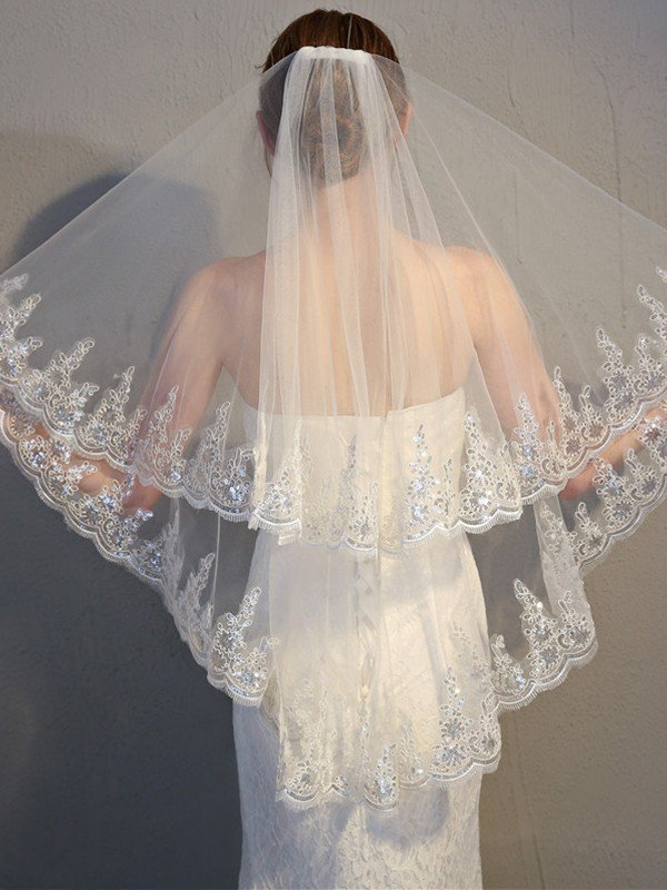 Charming 2 Layer Tulle With Lace Wedding Veils