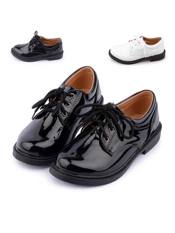 Boy's Leatherette Closed Toe Low Heel Flower Boy Shoes