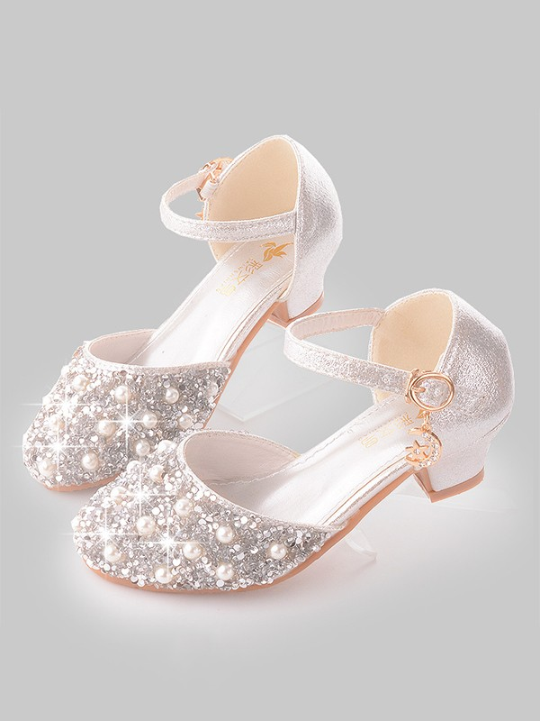 Girl's Leatherette With Pearl Closed Toe Low Heel Flower Girl Shoes