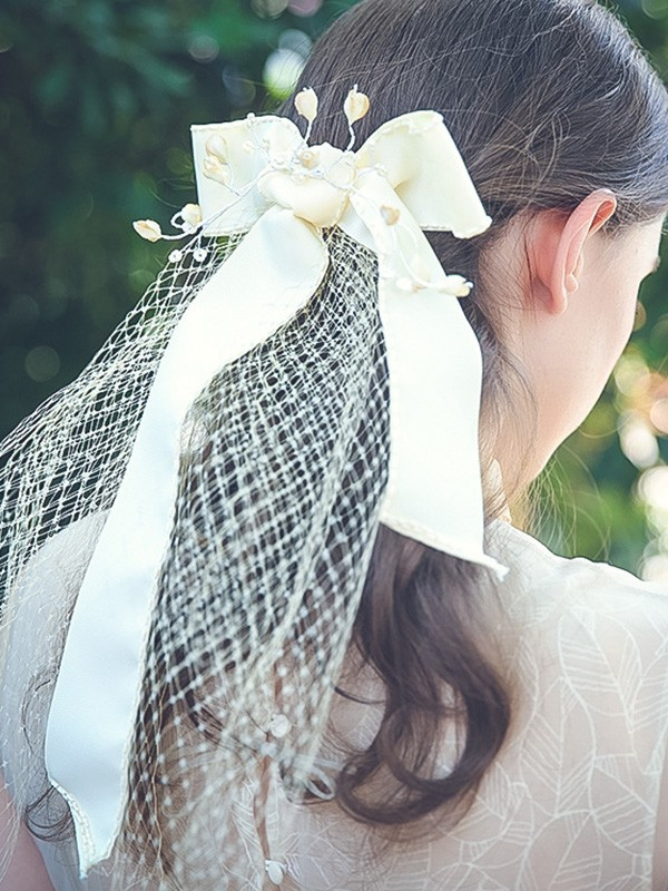 Brilliant Tulle One-Tier Shoulder Veils With Bowknot