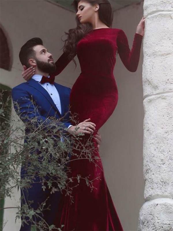 Sheath/Column Jewel Long Sleeves Floor-Length Ruffles Velvet Dresses