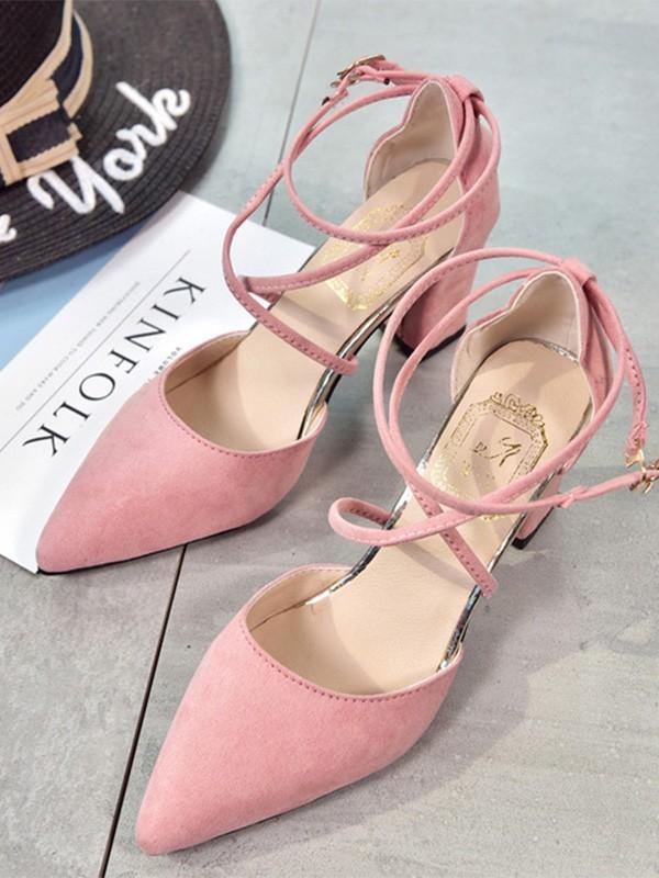 Women's Suede Stiletto Heel Closed Toe Sandals