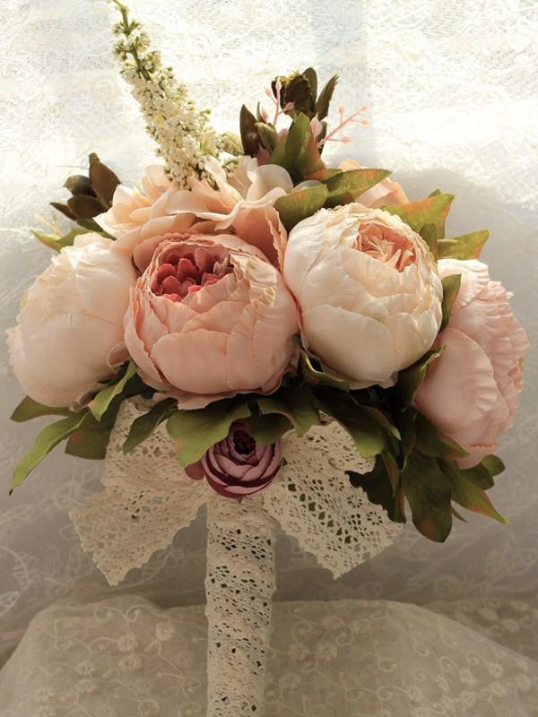 Graceful Free-Form Silk Flower Bridal Bouquets
