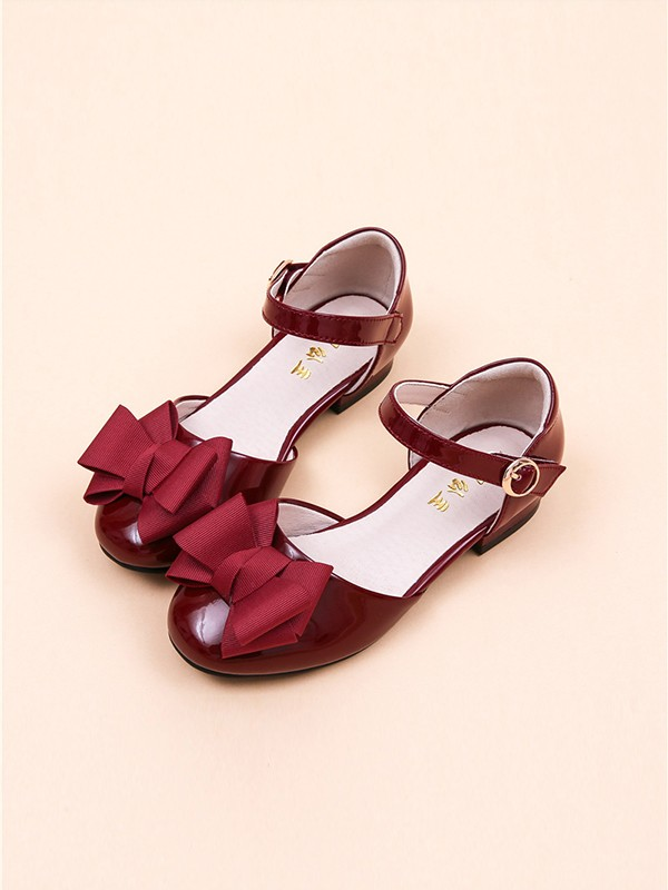 Girl's Closed Toe Microfiber Leather With Bowknot Low Heel Flower Girl Shoes